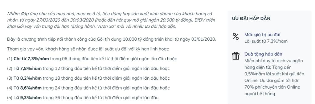 Chi tiết các mức lãi suất ưu đãi của gói tín dụng 20.000 tỷ đồng tại BIDV