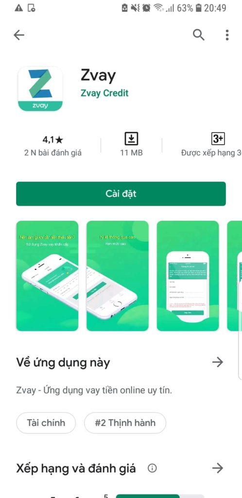 Xếp hạng đánh giá Zvay trên Google Play