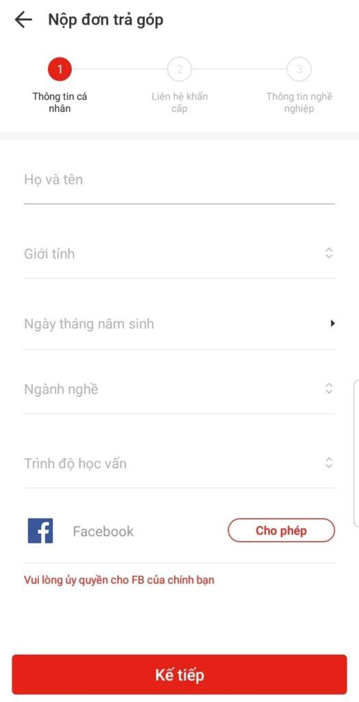 nghề nghiệp, đồng thời liên kết tài khoản Akulaku với Facebook