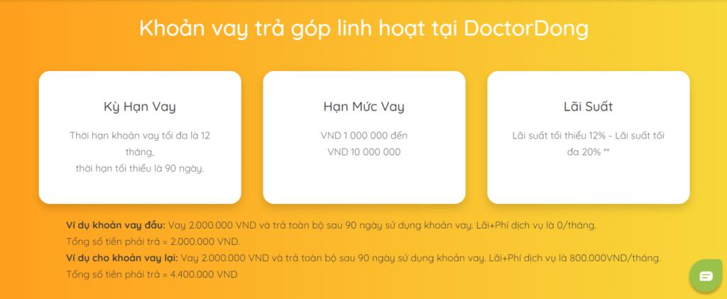 Ví dụ về lãi suất và khoản vay trên Doctor Đồng