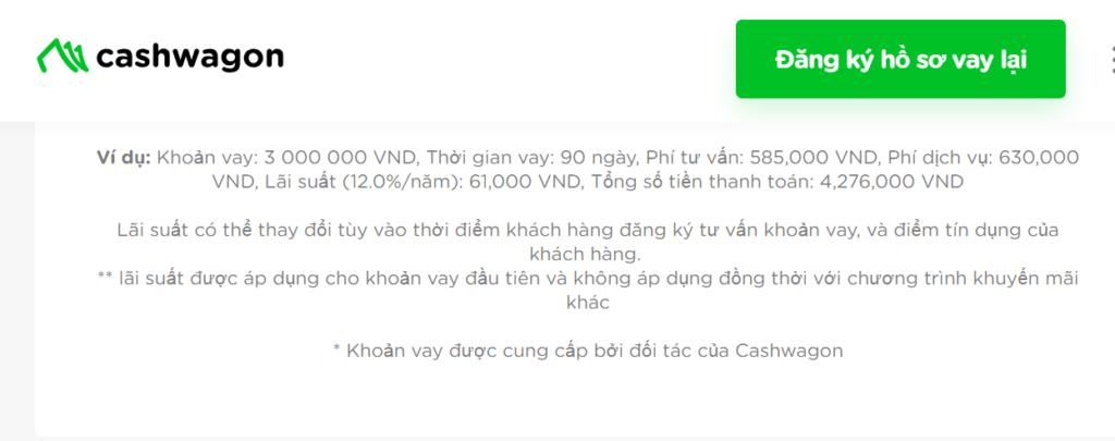 Một ví dụ về khoản vay online tại Cashwagon và các chi phí cũng như lãi suất đi kèm