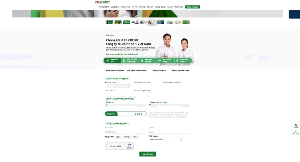 Để tiến hành vay nhanh tại Fe Credit, bạn cần hoàn tất các thông tin sau tại trang vay tín chấp của Fe Credit