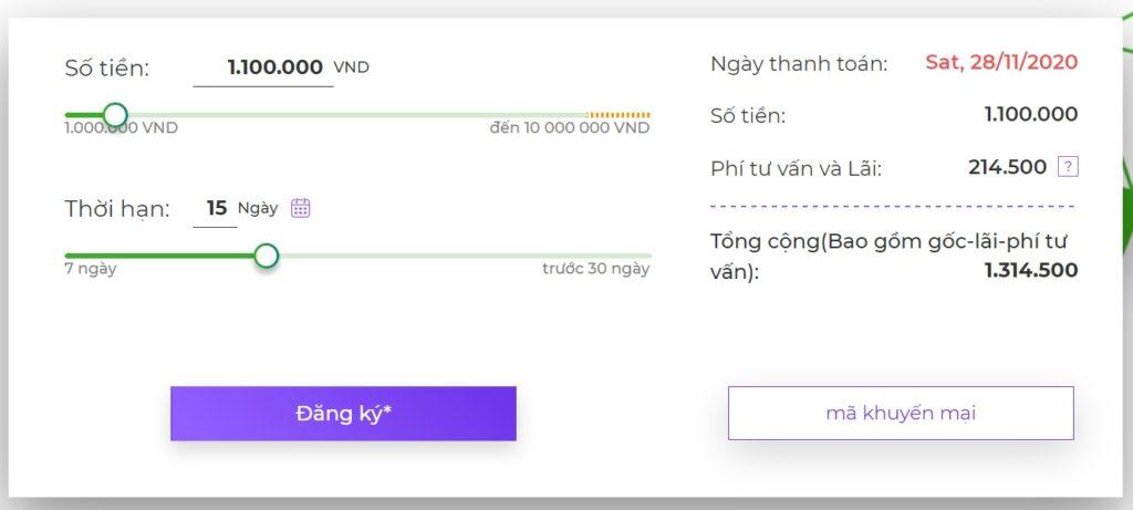 Hình 1: Bảng tính khoản vay tự động của Moneyveo