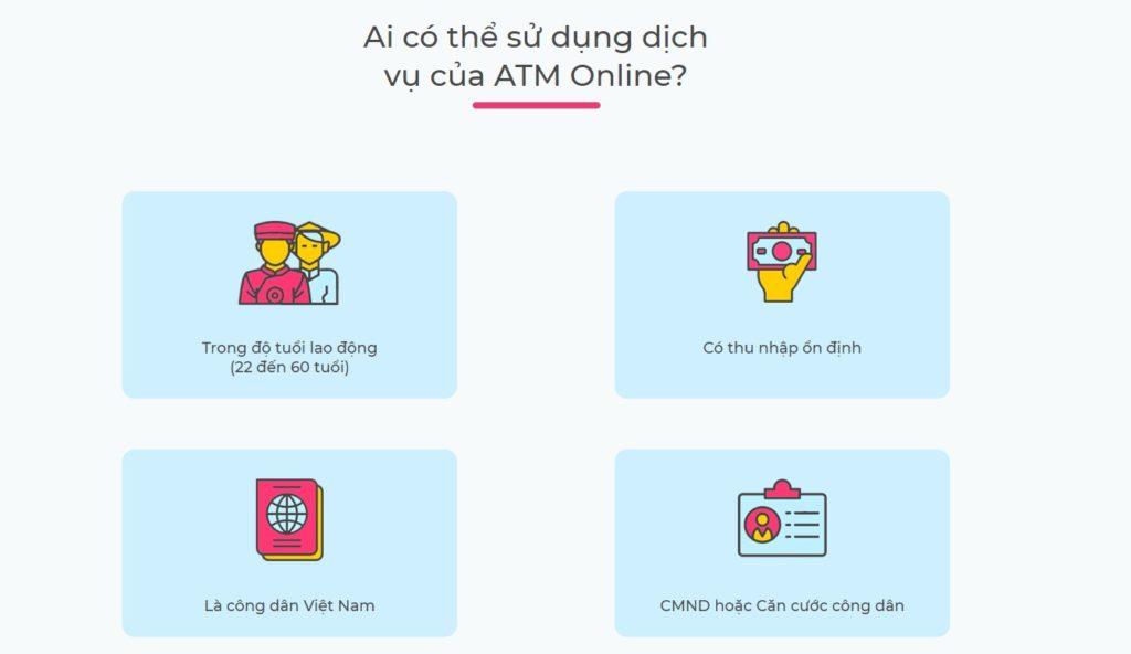 Những điều kiện để có thể vay tiền với ATM Online