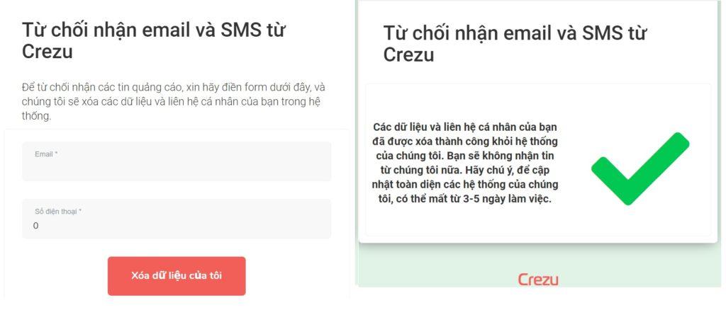 Cách đăng ký từ chối nhận thông tin từ Crezu