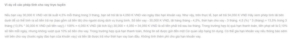 Ví dụ về một khoản chi phí cho vay trực tuyến được công bố trên Credilo.vn