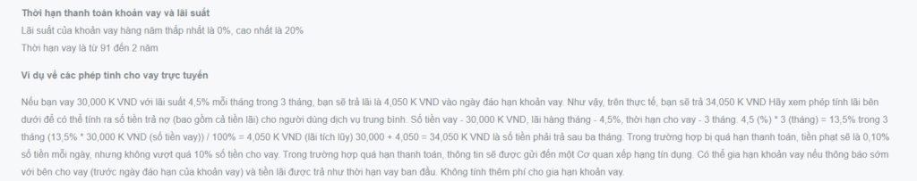Thông tin về lãi suất được cung cấp trên Visame.vn
