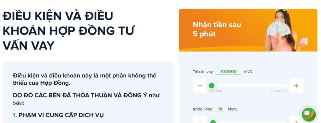 Một ví dụ về hợp đồng online trên ứng dụng Tiền Ơi