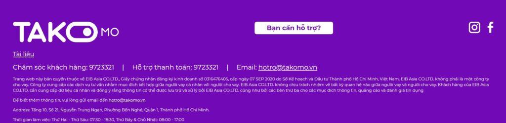 Thông tin của ứng dụng Takomo thuộc công ty EIB Asia CO.LTD.