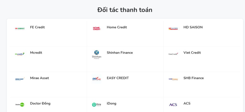 Momo có rất nhiều đối tác thanh toán gồm các công ty cho vay trực tuyến và ngân hàng trên liên kết ứng dụng