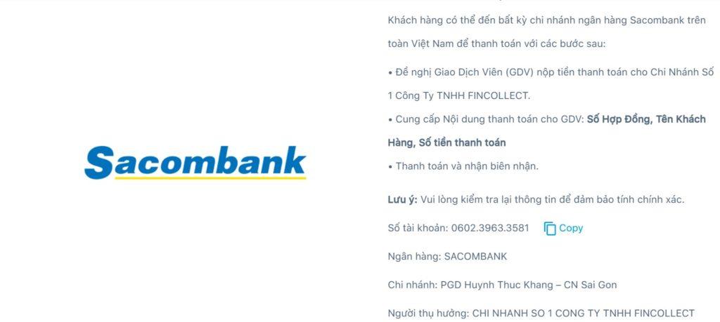 (Thông tin thanh toán qua ngân hàng Sacombank)